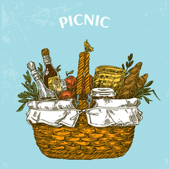 Picnic basket with food. Vintage card. Color. Engraving style. Vector illustration.