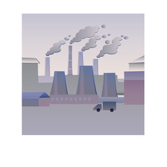 Smoking pipes. Ecology. Flat vectorial image of an industrial landscape with smoking pipes. Environmental pollution. Ecological catastrophy.