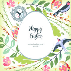 Easter background green garden with white egg in center birds and pussy-willlow