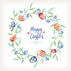 Easter great round floral background with colored easter eggs growed at branch of tree