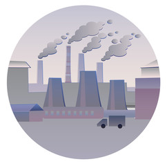 Smoking pipes. Flat vectorial image of an industrial landscape with smoking pipes in a circle. Environmental pollution. Ecological catastrophy. Icon for design