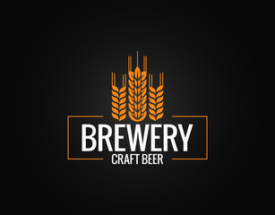 Beer logo design. Brewery label on black background