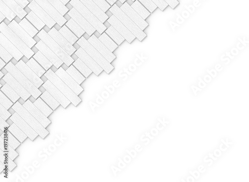 3d Rendering Abstract White Wood Panels Group Pattern In Diagonal