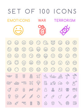 Set of 100 Isolated Minimal Modern Simple Elegant Black Stroke Icons on Circles on White Background ( Emoticons , War and Terrorism )