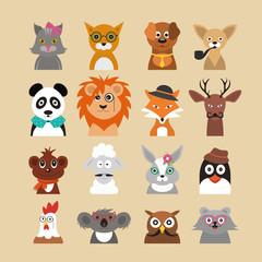Cartoon Hipster Animals Characters Icon Set. Vector