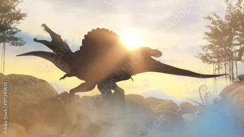 a battle between two prehistoric dinosaur