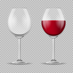 Realistic Detailed 3d Wine Glass Set. Vector