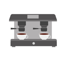 machine make coffee and two cups vector illustration