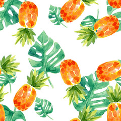 Watercolor tropical seamless pattern with pineapple and leaves.