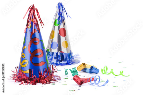 Birthday Party Hats Ribbon And Blowers Isolated On White