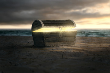 Schatztruhe am Strand
