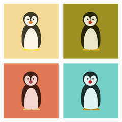 assembly flat icons nature Emperor penguins