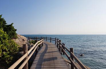 Photo of wooden bridge, trees by sea coast, blue sky