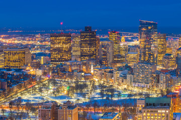 Fotomurales - Aerial view of Boston skyline and Boston Common park in Massachusetts, USA at sunset in winter