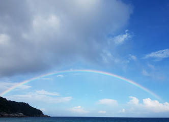Photo of sea coast with rainbow and cloudy sky