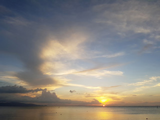 Photo of sky and sea coast at sunset