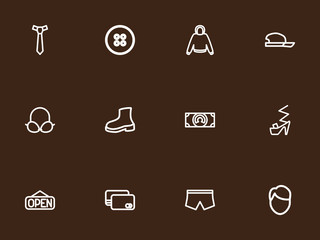 Set of 12 editable shopping icons line style. Includes symbols such as male aspect, brassiere, cash and more. Can be used for web, mobile, UI and infographic design.