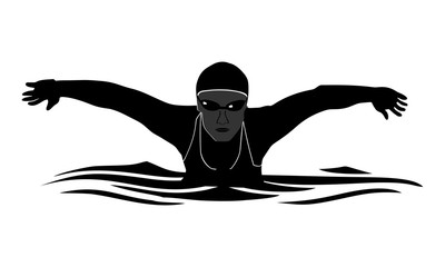 logo image silhouette female swimmer with butterfly style