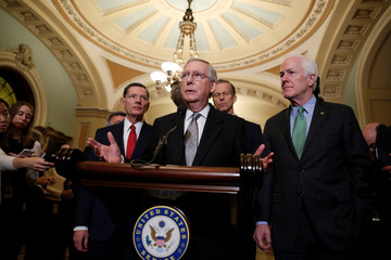 Senate Majority Leader Mitch McConnell (R-KY) speaks after the Republican policy luncheon on Capitol Hill in Washington
