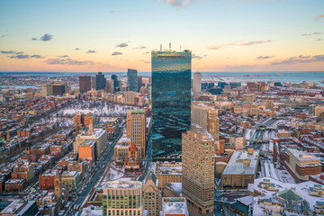 Wall Mural - Aerial view of Boston in Massachusetts, USA at night