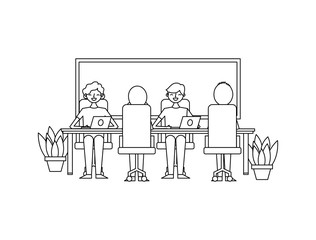 office team of employees working on their laptops at the table potted plants and board vector illustration outline design
