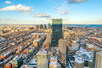 Fototapete - Aerial view of Boston in Massachusetts, USA at sunset