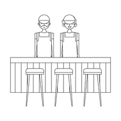 employee baristas standing behind bar counter and stools vector illustration outline design