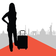 woman with travel bag and famous buildings in back