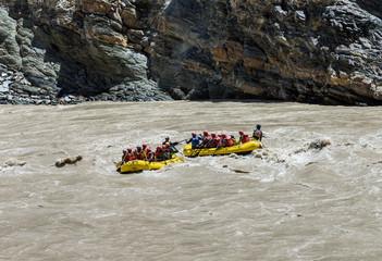 Rafting on the Zanskar river. The confluence of the Indus and Zanskar river - Tibet, Leh district, Western Ladakh, Himalayas, Jammu and Kashmir, Northern India
