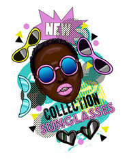 Banner with fashion girl and sunglasses.Advertising a new collection of glasses for an online store or social network.