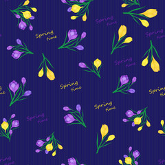 seamless pattern with Yellow,blue crocuses