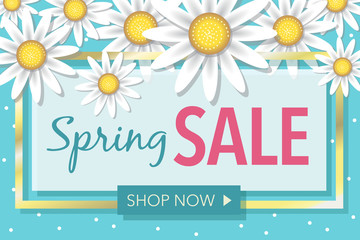 Spring Sale Flowers Retail Vector Illustration Horizontal 2