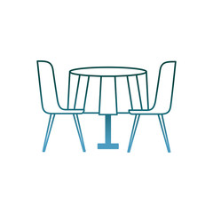 furniture restaurant pair chair and round table vector illustration gradient color design
