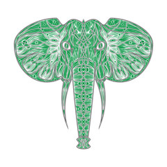 Stylized ethnic boho elephant portrait isolated on background. Decorative hand drawn doodle vector illustration. Perfect for postcard, poster, print, greeting card, t-shirt, phone case design