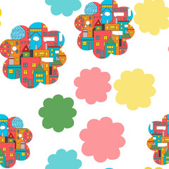 Seamless pattern. Vivid city buildings in the flower form. Hand drawn doodles.