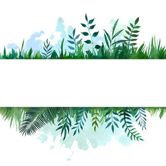 Hand drawn watercolor illustration of differents plants with colorful blot. Decorative graphic frame for wedding branding, invitations, greeting card. Isolated on white background. Ecology concept.