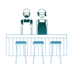employee baristas standing behind bar counter and stools vector illustration gradient color design