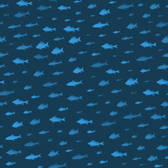 School of Fish Sea Seamless Pattern Background. Vector