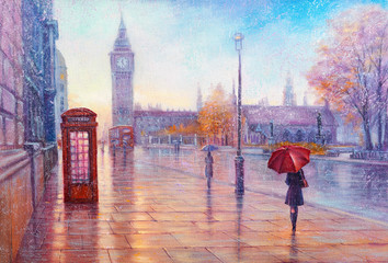 Foto op Aluminium Londen rode bus Street view of london, bus on road. Artwork. Big Ben.