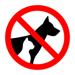 Prohibition sign stop pet dog and cat simple animals silhouette
