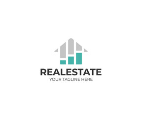 Housing market logo template. Real estate stock market vector design. Growth chart and home logotype