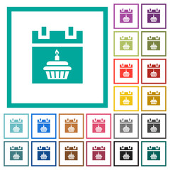 Birthday flat color icons with quadrant frames