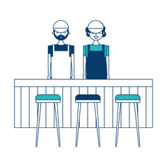 employee baristas standing behind bar counter and stools vector illustration green and blue design