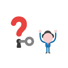 Vector illustration businessman character unlock question mark