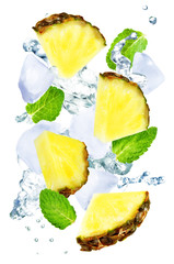 Flying Pineapple slices with ices and mint leaves