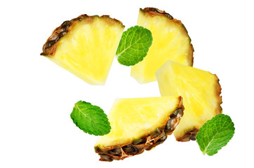 Flying Pineapple slices with mint leaves