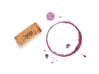 Red wine cork and stain rings isolated on white