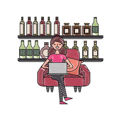 happy woman sitting in the sofa laptop and shelf with bottle glass beverages vector illustration