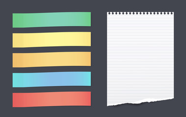 Set of colorful horizontal sticky notes with torn lined paper sheet for text stuck on black background