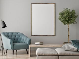 Mock up poster, Living room Scandinavian concept, 3d render, 3d illustration